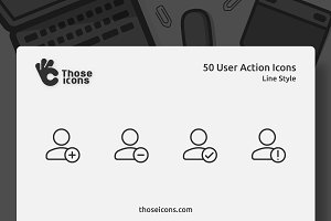 50 User Actions Vector Line Icon