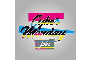 Cyber Monday Poster and Glitch Effect Text.