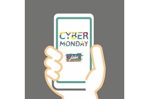 Cyber Monday Poster with Glitch Effect.