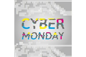 Cyber Monday Poster with Glitch Effect text.