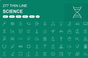 250+ Science Thin line icons