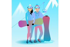 Vector illustration of a snowboarding couple.