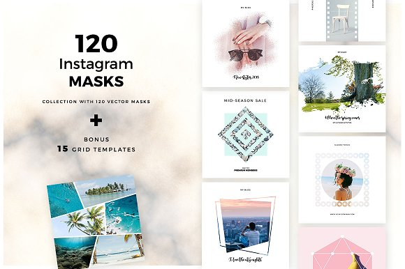 120 Vector Masks for Instag-Graphicriver中文最全的素材分享平台