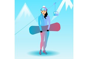 Female snowboard character.