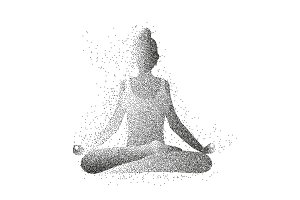Particle woman's silhouette. Female yoga.