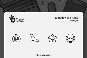 30 Halloween Vector Line Icon