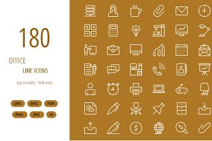 180 Office line icons