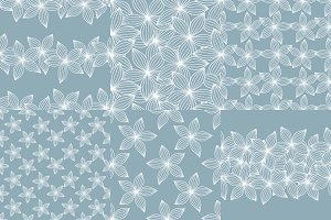 Seamless floral blue pattern.