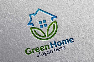 Green Home, Leaf Real estate Logo