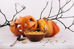 Halloween pumpkin on the table