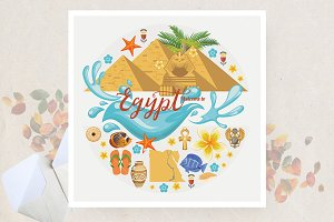 Egypt travel vector. Egiptian set