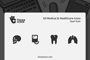 50 Medical & Healthcare Glyph Icon