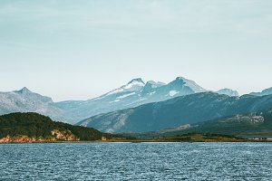 Norway Mountains and sea Landscape