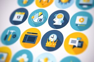 Flat business icons set