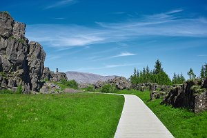 wooden walkway in Thingvellir National Park, Iceland