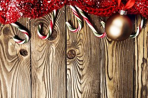 Christmas deco on wooden background