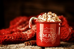 Sweet coffee with Christmas dessert