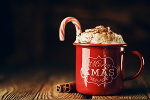 Decorated sweet drink in red mug