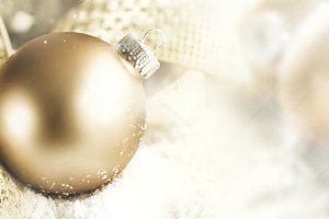 Christmas deco golden ball closeup