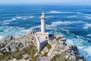 lighthouse on the ocean coast in spain