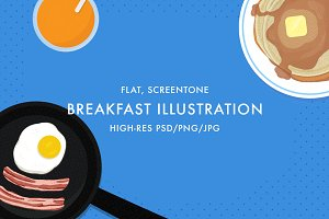 Flat Breakfast Food Illustration
