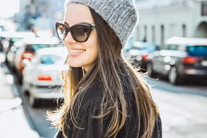brunette girl in sunglasses