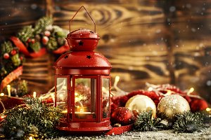 Christmas deco with lantern wooden