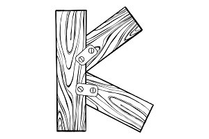 Wooden letter K engraving vector illustration