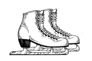 Skates engraving vector illustration