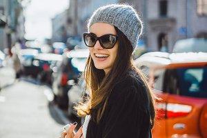 brunette girl in sunglasses