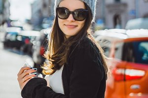 beautiful brunette girl in sunglasse