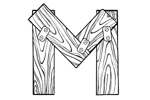 Wooden letter M engraving vector illustration