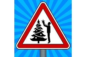 Road sign Christmas tree decoration pop art vector