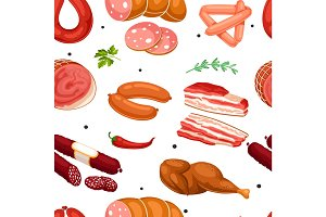 Seamless pattern with meat products. Illustration of sausages, bacon and ham