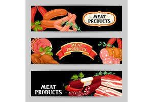 Banners with meat products. Illustration of sausages, bacon and ham