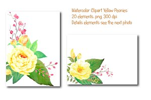 Wedding Watercolor Yellow Peony
