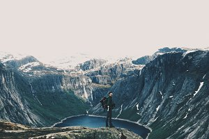 Man and gorgeous mountain landscape