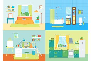 Cartoon Interior Basic Room of Home