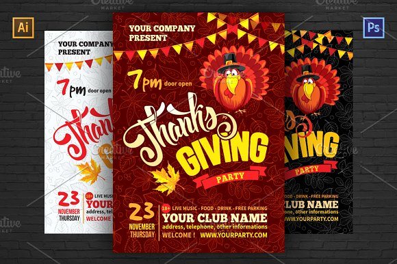 thanksgiving party flyer template flyer templates creative market