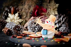 Cards Christmas figurine Snowman space for text, selective focus