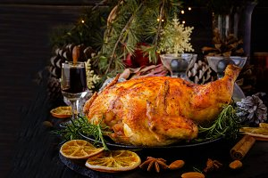 Baked turkey for Christmas or New Year