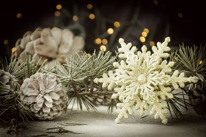 Christmas card decoration with fir branches and decoration elements , selective focus