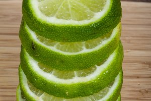 Lime sliced and stacked