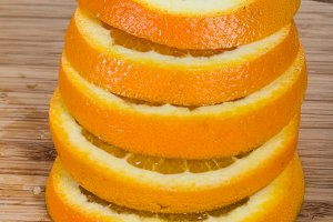 Orange cut into slices and stacked