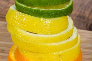 Citrus fruit slices stacked