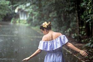 girl happy rain