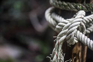 rope knot on the pole closeup