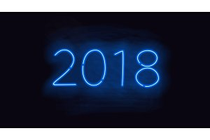 2018 blue neon glowing vector sign