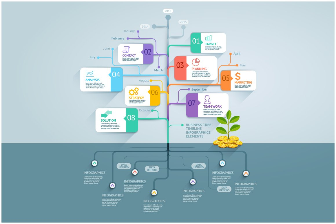 business tree timeline infographics presentation templates