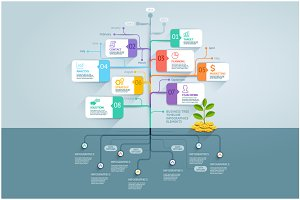 Business Tree Timeline Infographics.